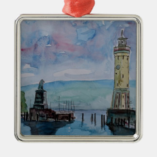 Lindau with Lion and Lighttower on Lake Constance Metal Ornament