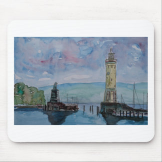 Lindau with Lion and Lighttower on Lake Constance Mouse Pad