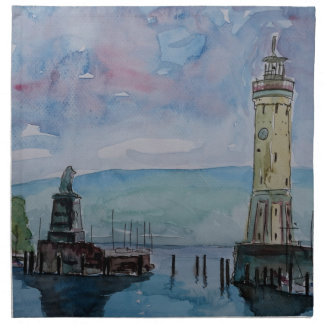 Lindau with Lion and Lighttower on Lake Constance Napkin