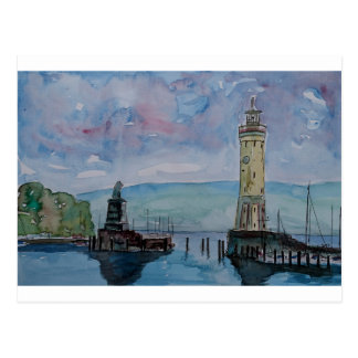 Lindau with Lion and Lighttower on Lake Constance Postcard
