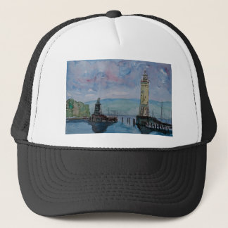 Lindau with Lion and Lighttower on Lake Constance Trucker Hat