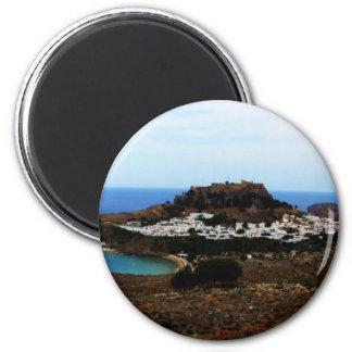 Lindos, Rhodes, Greece 2 Inch Round Magnet