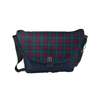 Lindsay Clan Dark Red, Green and Blue Tartan Commuter Bag