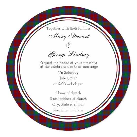 Lindsay Scottish Wedding Round Invitation