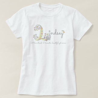 Lindsey girls L name meaning monogram tee