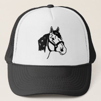 line art horse trucker hat