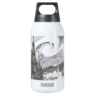 Line Art Interpretation of Starry Starry Night Insulated Water Bottle