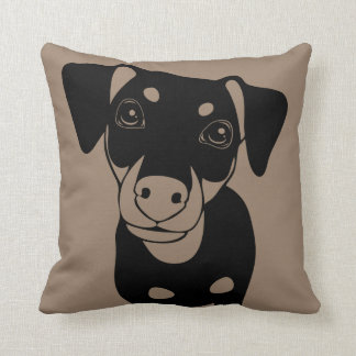 LINE ART Min Pin Owner Throw Pillow