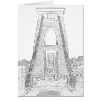 Line Art of Clifton Suspension Bridge, Bristol. Card