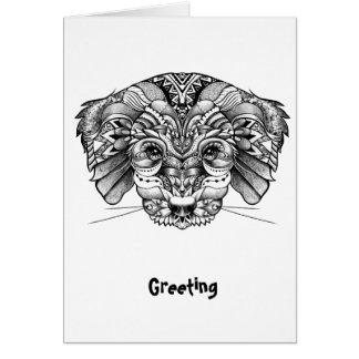 Line Art Puppy Greeting Card