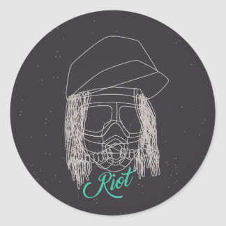Line Art Riot Sticker