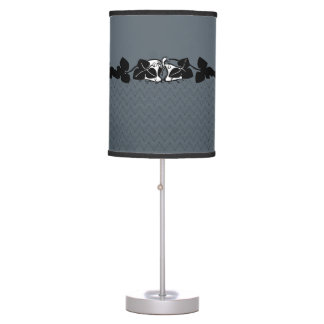 Line Art with Floral Border Table Lamp