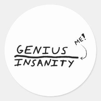 Line between Genius and Insanity Round Sticker