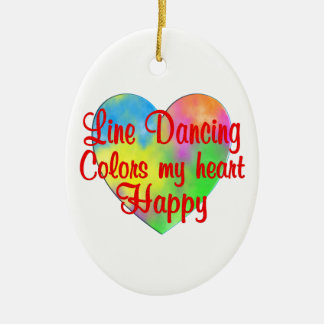 Line Dancing Colors My Heart Happy Ceramic Oval Ornament
