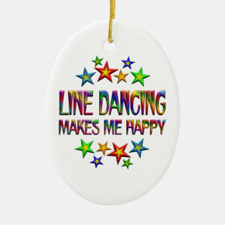Line Dancing Happy Ceramic Oval Ornament