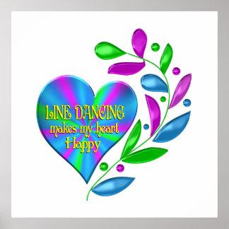 Line Dancing Happy Heart Poster