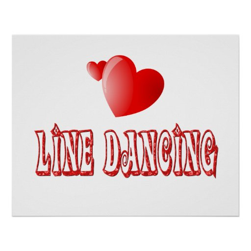 Line Dancing Hearts Poster