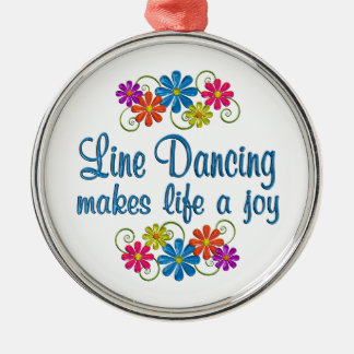 Line Dancing Joy Silver-Colored Round Ornament