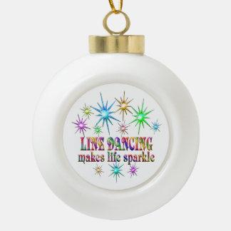 Line Dancing Sparkles Ceramic Ball Christmas Ornament