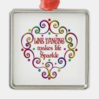 Line Dancing Sparkles Silver-Colored Square Ornament