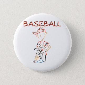Line Drawing Baseball 2 Inch Round Button
