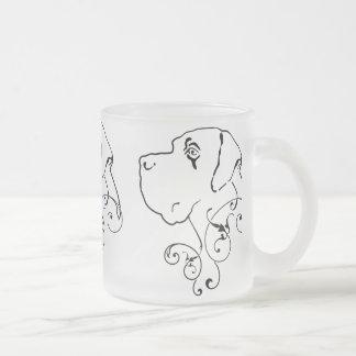 Line Drawing Great Dane Head Frosted Glass Coffee Mug