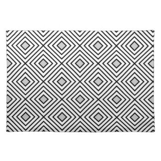 Line geometric Pattern black white 02 Placemat