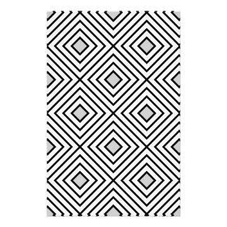 Line geometric Pattern black white 02 Stationery