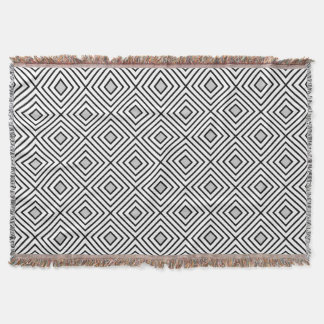 Line geometric Pattern black white 02 Throw Blanket
