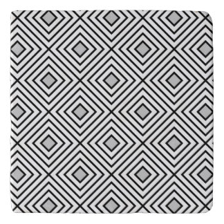 Line geometric Pattern black white 02 Trivet
