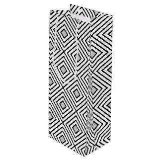 Line geometric Pattern black white 02 Wine Gift Bag