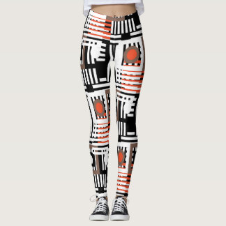 line mix round pattern leggings