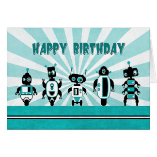 Line of Robots in Front of Sunburst Birthday Card