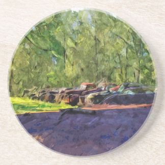 Line of Rusty Old Cars and Trucks Abstract Drink Coaster