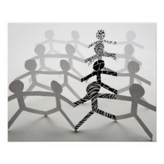 Line of white paper chain dolls poster