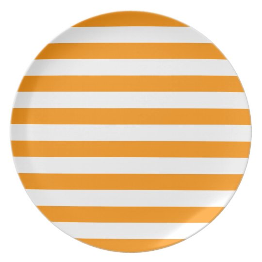 Line Pattern Preppy Orange Plate