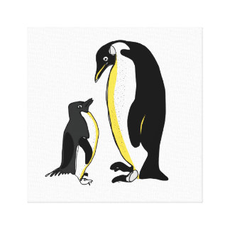 Line Penguins Canvas Print