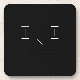 Line Smiley Serious Simple White Black Hipster Coaster