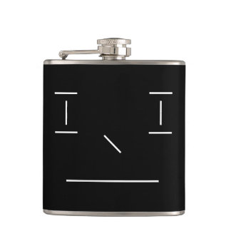 Line Smiley Serious Simple White Black Hipster Flask