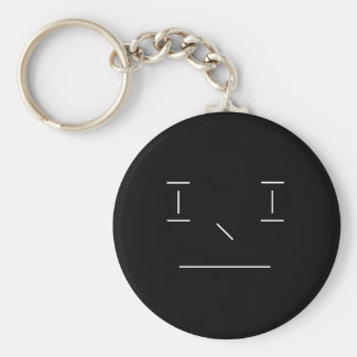 Line Smiley Serious Simple White Black Hipster Keychain