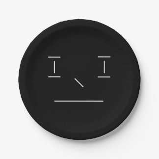 Line Smiley Serious Simple White Black Hipster Paper Plate