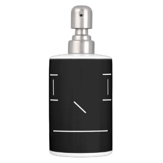 Line Smiley Serious Simple White Black Hipster Soap Dispenser And Toothbrush Holder