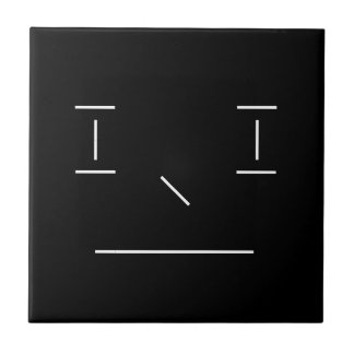 Line Smiley Serious Simple White Black Hipster Tile