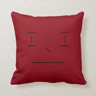 Line Smiley Simple Red Black Hipster Modern Throw Pillow