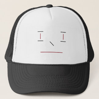 Line Smiley Simple Red Black White Hipster Modern Trucker Hat