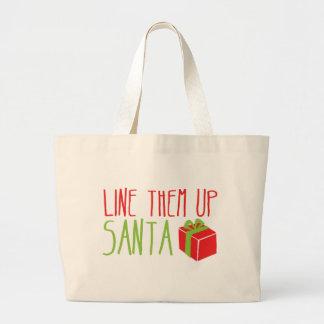 Line them up SANTA funny Christmas design Canvas Bags