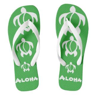 """LineA """"Aloha"""" White Honu Flip Flops"""