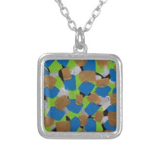 LineA Contemporary Art Lime Green& Blue Square Pendant Necklace