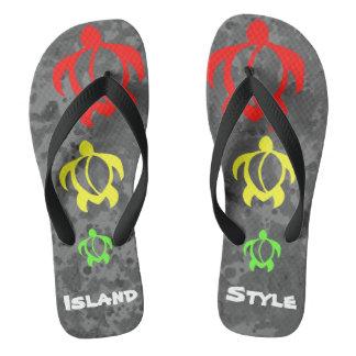 LineA Island Style Rasta Honu Flip Flops