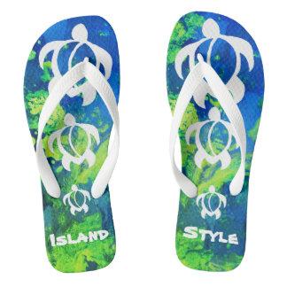 "LineA ""Island Style"" White Honu Flip Flops"